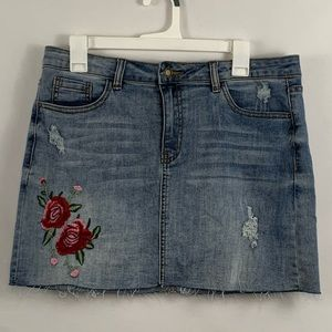 Angel kiss XL denim jean skirt with embroidery